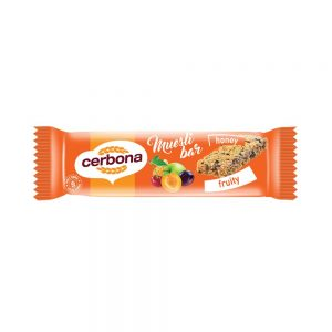 The Cerbona Fruits muesli bar has a valuable nutrient composition and is rich in dietary fiber, so it can be well integrated into a healthy diet. The Fruits muesli bar is made with plums, cherries, apples, apricots, peanuts, sunflower seeds, honey, raisins, cereals and rolled oat flakes, that make it irresistibly delicious. You can easily take and eat your muesli bars anywhere. Try the other flavours too!