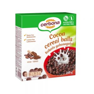 The Cerbona gluten- and lactose-free, cocoa-based cereal balls is the perfect breakfast made from rice and corn, so it is naturally gluten-free. We also recommend this product for those who follow a vegan lifestyle.