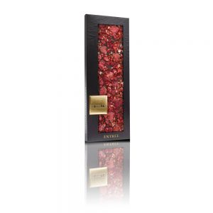 Valrhona 66% dark chocolate, Freeze-dried strawberry pieces, Freeze-dried raspberry, Crystallized rose petals