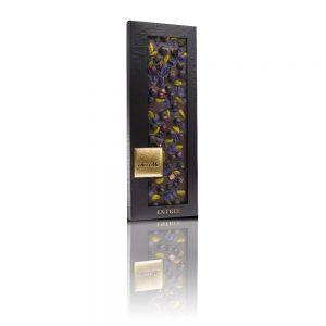 Valrhona 66% dark chocolate, Pistachio from Bronte, Freeze-dried blackcurrant, Crystallized violet petal