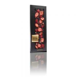 Valrhona 66% dark chocolate, Freeze-dried blackcurrant, Freeze-dried strawberry slices, Freeze-dried raspberry whole