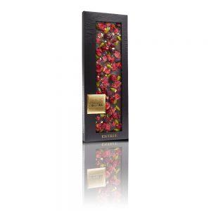 Valrhona 66% dark chocolate, Pistachio from Bronte, Freeze-dried sour cherry pieces, Crystallized rose petals, Genuine 23 karat gold crumbs