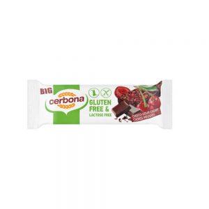 Безглютеновый шоколадно-вишневый батончик изготовлен из кукурузы и гречки, которые, естественно, не содержат глютена. Содержит кусочки шоколада и вишни. Во время производства используется только безлактозное сырье.