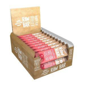 RAW батончики - вкусные закуски для сторонников здорового образа жизни! Батончики со вкусом клюквы, кешью и миндаля. В комплекте 20 штук.